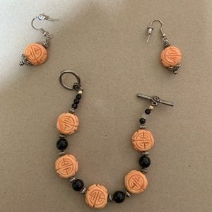 Orange Beaded Bracelet And Earrings